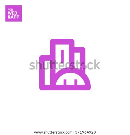 City isolated minimal single flat linear icon. business center line vector icon for websites and mobile minimalistic flat design. - stock vector