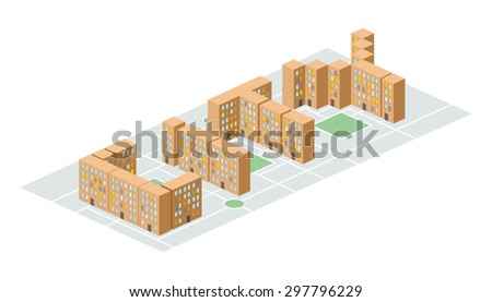 City Isometric Building Form Letters Yard Stock Vector 297796229 ...