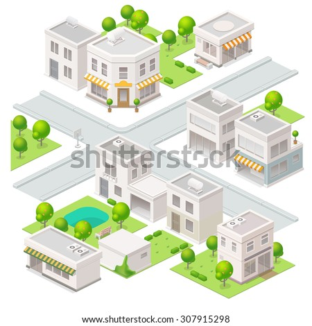 City  isometric buildings. Set of the vector elements.  - stock vector