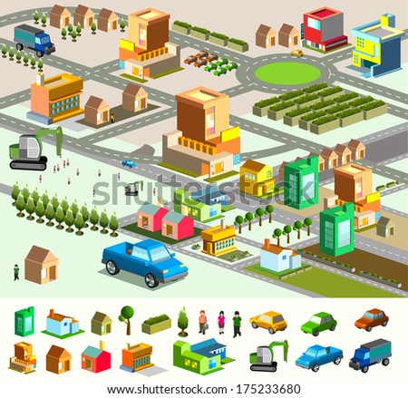city isometric. include building, vehicle, plan, people. vector custom map - stock vector