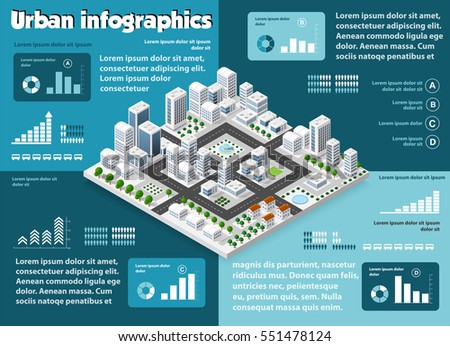 City isometric infographics there are diagram, building, road, park, transportation and trees in the area of the town with the business conceptual graphs and symbols
