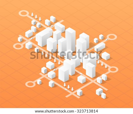 City isometric map, consisting of city skyscrapers block pointer and driving directions