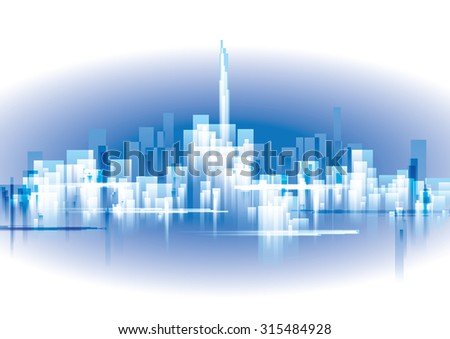 City Landscape, abstract background town - stock vector