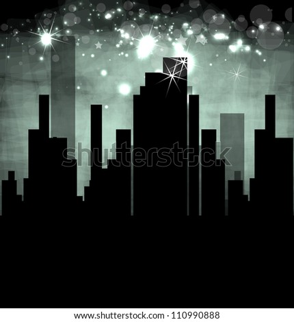 City Landscape abstract dark real estate vector illustration background - stock vector