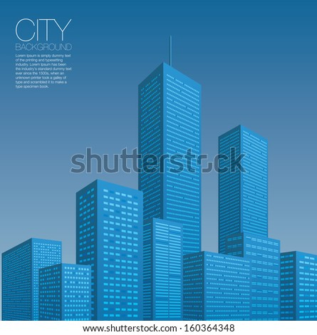 City Landscape at Dusk - stock vector