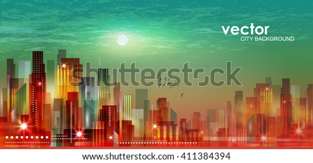 City landscape at night in moonlight - stock vector