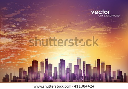 City landscape at sunset - stock vector