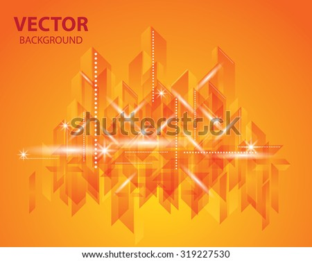 City Landscape. Beautiful abstract orange background town - stock vector