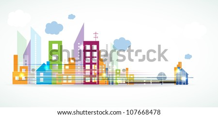 City Landscape real estate vector background banner - stock vector