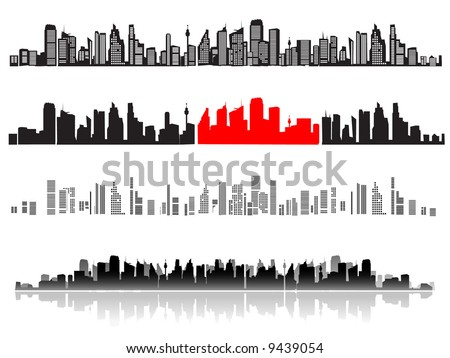 City landscape, silhouettes of houses black - stock vector