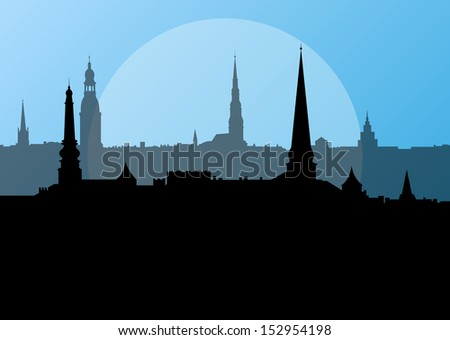 City landscape vector background in evening sunset - stock vector
