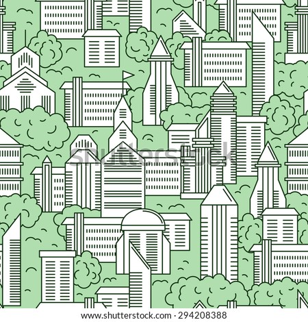 City landscape vector seamless pattern. Vector illustration of a city landscape with green trees. Seamless pattern in the outline style. - stock vector