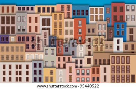 City Landscape with facade of old buildings Europe