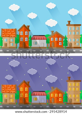 City landscapes. Flat design. Vector illustration.  - stock vector