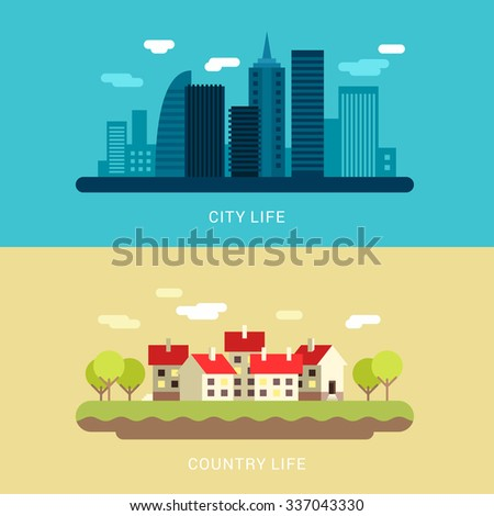 City Life and Country Life. Flat Style Vector Conceptual Illustration for Web Banners or Promotional Materials - stock vector