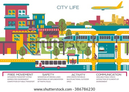 city life flat vector illustration with urban landscape - stock vector