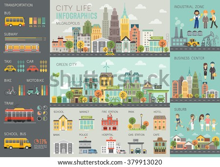 City life Infographic set with charts and other elements. Vector illustration. - stock vector