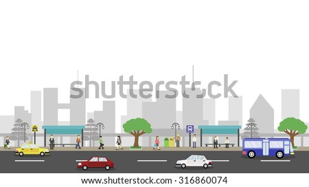 city life landscape with white background. vector illustration - stock vector