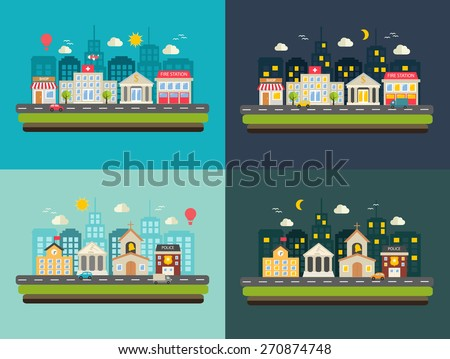 City life, urban landscapes set at day and at night. With buildings icons set:  police, fire station, school, church, bank, court house, hospital, shop, store in modern flat design style - stock vector