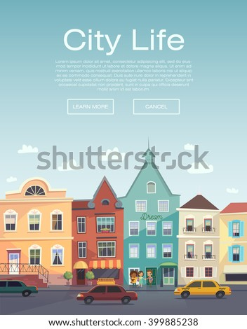 City Life. Urban walk. Flayer. City information service. City Banner. City street and road traffic. Road trip. Taxi service flyer. Concept website template. Modern flat design. Colorful illustration. - stock vector