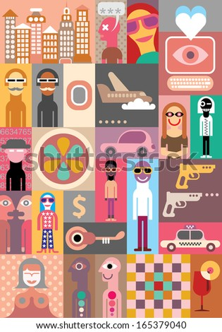 City Life - vector illustration. Pop art collage. - stock vector