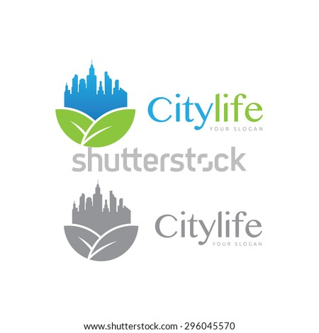 City Life Vector Logo Template - stock vector