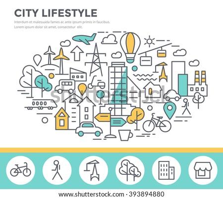 City lifestyle concept illustration, thin line flat design - stock vector