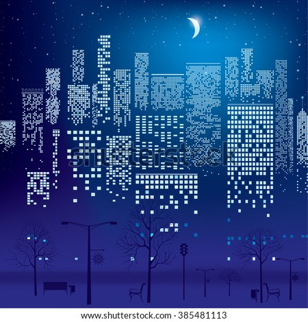 City Lights. Vector Illustration Of City With Lighting Windows, The Moon,  Trees, Good Ideas