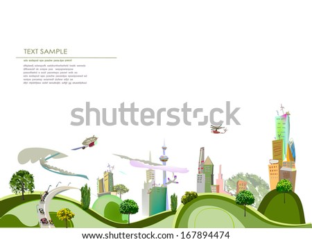 City line collection Modern City Illustration with roads and traffic