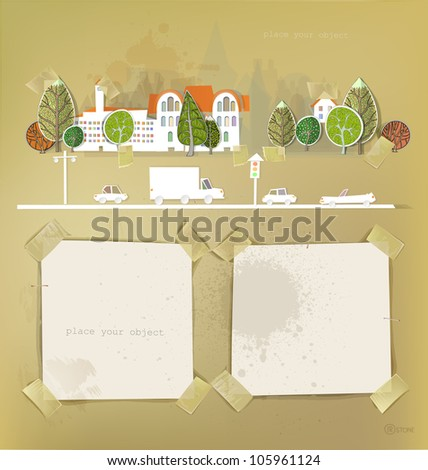 city made of stickers  and paper backgrounds - stock vector