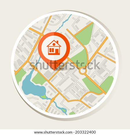 City map abstract background with marker home. - stock vector