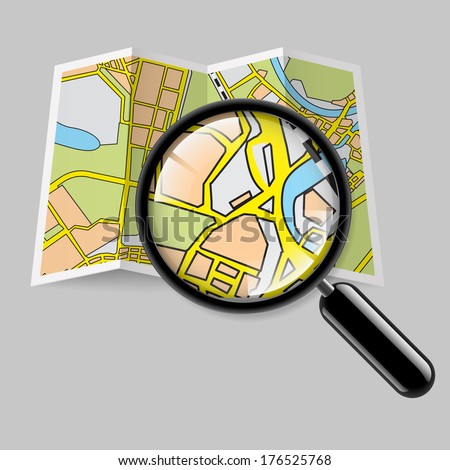 City map booklet with magnifying glass on grey background - stock vector