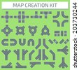 City Map Creation Kit: Create your own custom city plan. Part 1. Isolated connectible road elements. - stock vector