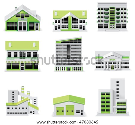City map creation kit (DIY). Part 1. Buildings - stock vector