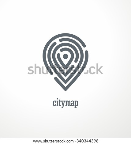 City map creative symbol concept. Pin sign and maze. Promotional logo design layout with labyrinth. Town spot locations icon template. - stock vector