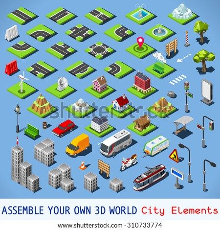 City Map Elements COMPLETE TESTED Set NEW bright palette 3D Flat Vector Icon Set Urban Fabric Road House Building Car and Truck Vehicle Isolated Collection 3D World JPEG JPG EPS 10 Image Drawing AI - stock vector