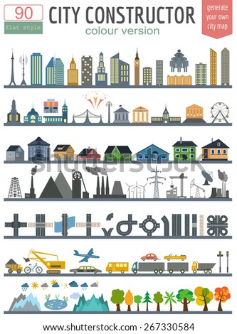 City map generator. Elements for creating your perfect city. Colour version. Vector illustration - stock vector
