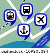 City map icons bus and rail stations, seaports and airports - stock vector