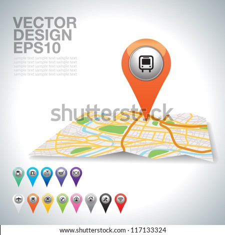 City map icons bus on map. - stock vector