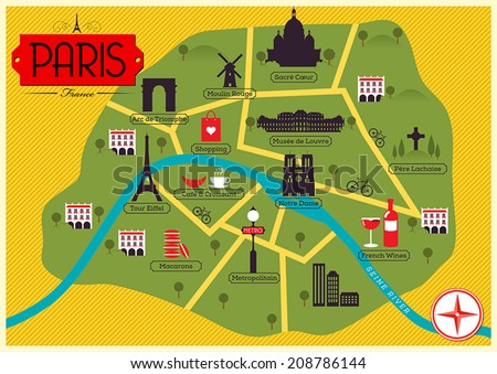 City Map Illustration of Paris. Landmarks and Vector Map Icons.  - stock vector