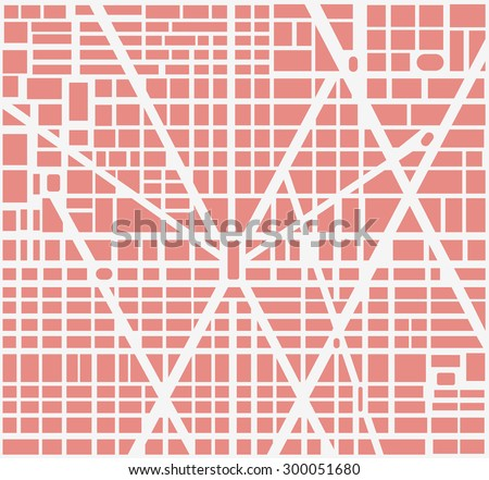 City map of the area of urban neighborhoods, houses and roads. It can be used as background urban design - stock vector