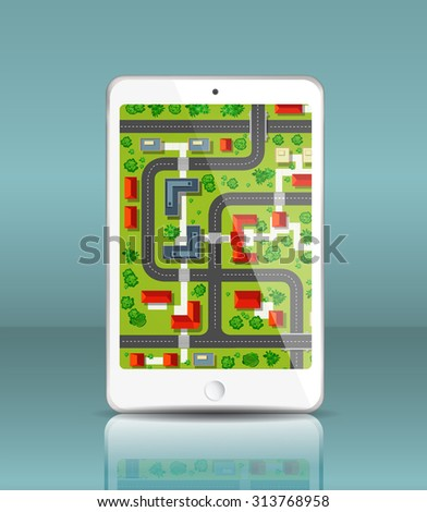 City map of the city in your mobile phone. Mobile navigation map. View of city streets and neighborhoods from above. - stock vector