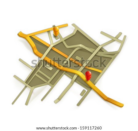 City map, vector - stock vector