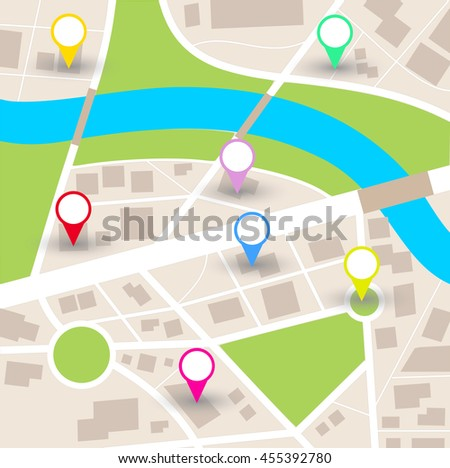 City map vector with blank pointers