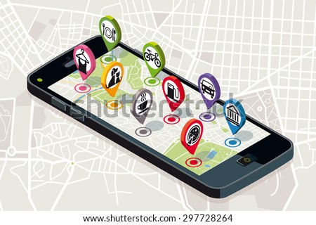 City map with business services Icons. Smart-phone. On it screen a vector map of the city, where  appear pins with the location of different service icons. - stock vector