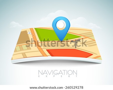 City map with 3D navigation pointer on cloudy background.   - stock vector