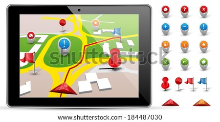 City map with GPS Icons. - stock vector