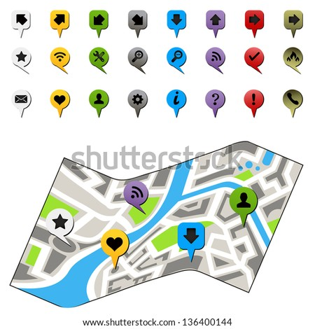 city map with labels - stock vector
