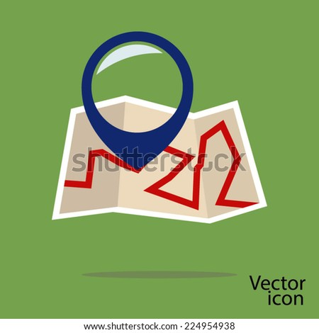 City Map With Marker, Vector Icon - stock vector