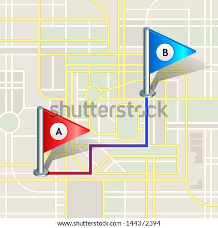 City Map With Markers, Vector Icon. Eps 10 - stock vector